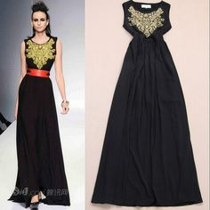 Gold Embroidery Long Maxi Sun Dresses