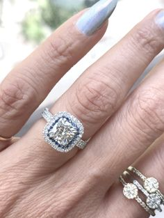 AYYYY...Nice to be different ....... #engagementrings #moissanite #bluesapphires