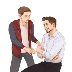 Peter Parker aka Spider-man & Tony Stark aka Ironman | art by Hallpen | Artwork