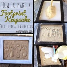 Bring home some sand from the beach and make footprints in the sand wall art. For little feet, big feet, or pooch paws! Featured on Completely Coastal: http://www.completely-coastal.com/2014/04/make-footprints-in-sand-art.html