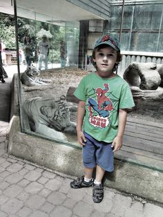 Liberec zoo with my little brother and famous white tyger