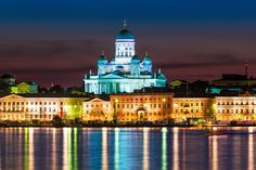 Night scenery of the Old Town in Helsinki, Finland. Scenic night view of the Old , Travel Info, Free Travel, Light Fest, Night Scenery, Island Park, Natural Scenery, Ultimate Travel, Beautiful Islands, Helsinki