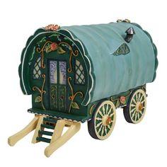 Vivid Arts Green Gypsy Caravan Miniature House