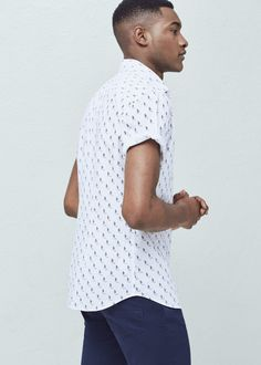 Camisa slim-fit algodón estampada | MANGO MAN