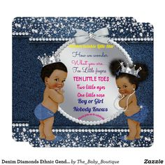 Denim Diamonds Ethnic Gender Reveal Shower Card