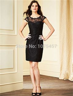 Latest Design Modest Bridesmaid Dress with Sleeve 2015 Elegant Short Party Dress Black Lace A Line Vestido De Madrinha MB418