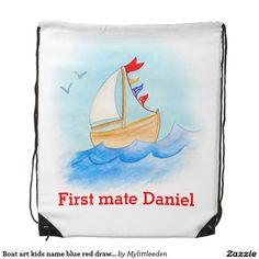 Boat art kids name blue red drawstring bag. Watercolor art and design by www.sarahtrett.com