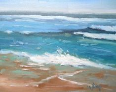 Pequeño paisaje marino pintura al océano por CarolSchiffStudio