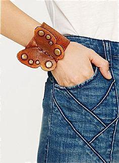 Butterfly Leather Cuff Bracelet