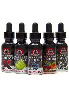 """Starbuzz is world famous for their amazing flavor combinations, and these new liquids will not disappoint. Starbuzz E-Juice is for use in refillable e cigarette vaporizer devices. Each bottle of Starbuzz E-Juice holds 30 ml of liquid and includes an """"eye dropper"""" for quick and accurate filling of your Clearomizer, with a 50/50 PG and VG blend. Each flavor is available with 0mg, 6mg, and 12mg of nicotine, making it easy to find the right strength for the perfect vaping experience."""