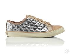 Shimmery leather meets textural quilting: Tory Burch Caspe Metallic Sneaker