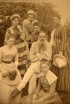 Leo Tolstoy with his family at Yasnaya Polyana, a 4,000 acre estate that was formerly owned by a prince.