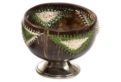 Silver Footed Coconut Bowl, Green on OneKingsLane.com