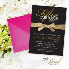 50th Birthday Invitation  Surprise Fifty by SimplySocialDesigns