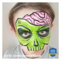 Halloween Comic Zombie Face Paint Design by Linnéa Zombie Face Paint, Clown Face Paint, Mask Face Paint, Skull Face Paint, Kids Skeleton Face Paint, Easy Halloween Face Painting, Face Painting For Boys, Halloween Makeup For Kids, Face Painting Designs