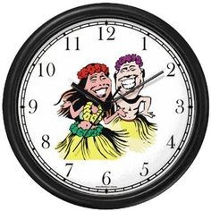 Special Offers - Polynesian Man and Woman in Grass Skirts Hula Dancing Dancers  Hawaiian Theme Wall Clock by WatchBuddy Timepieces (Black Frame) - In stock & Free Shipping. You can save more money! Check It (June 28 2016 at 07:41PM) >> http://wallclockusa.net/polynesian-man-and-woman-in-grass-skirts-hula-dancing-dancers-hawaiian-theme-wall-clock-by-watchbuddy-timepieces-black-frame/