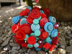 Retro Turquoise, Aqua and Red Button Bouquet