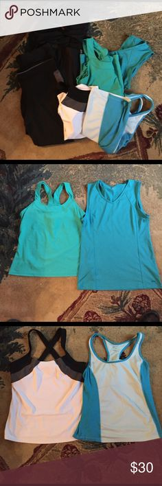 """Active bundle Running singlets are large, one turquoise (solid) is Xl. All but the solid turquoise have a built-in shelf bra. Solid black running tights are, I believe, a Med. But fit like a large for me. Gray and black are large. Both are ankle length with back zip pockets. Pull over is a men's small, so fits like a M /L. Most are XERSION brand from penny's one singlet is old navy. Jacket is Champion. For reference: I am 5' 9"""" 148 lbs 36c Other"""