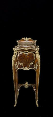 A Fine And Rare Louis XV Style Gilt Bronze Mounted Marquetry And Rosewood  Table De Nuit