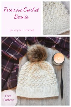 Learn how to crochet this beginner crochet beanie pattern using the Primrose Stitch. A free pattern on the Croyden Crochet blog! Beginner Crochet, Crochet Patterns For Beginners, Easy Crochet Patterns, Learn To Crochet, Knitting Patterns, Crochet Beanie Pattern, Crochet Yarn, Free Crochet, Crochet Round