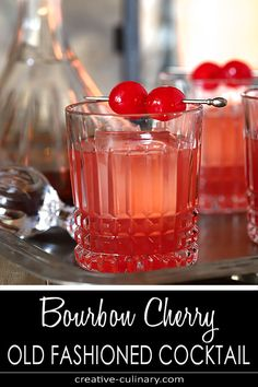 This Bourbon Cherry Old Fashioned Cocktail is great for a holiday party Cherry jam is muddled and combined with bourbon lime juice and honey for a delicious winter sipper via creativculinary Bourbon Cocktails, Whiskey Drinks, Cocktail Drinks, Cocktail Recipes, Drink Recipes, Cocktail Videos, Scotch Whiskey, Bourbon Drinks Winter, Cherry Cocktails