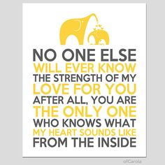 """Yellow Gray White Nursery Wall Art Print Room Decor No One Else Will Ever Know Text Quote Lyrics Mother Child Love Elephant ofcarola 8x10"""""""