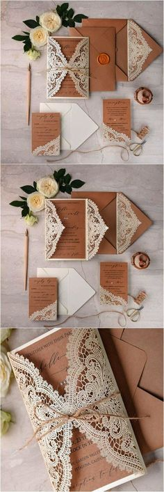 Ivory kraft paper laser cut lace rustic wedding invitations / www.deerpea… Ivory Kraft Paper Laser Cut Lace Rustic Wedding Invitations / www. Vintage Invitations, Laser Cut Wedding Invitations, Diy Invitations, Wedding Invitation Cards, Wedding Stationery, Wedding Cards, Diy Wedding, Dream Wedding, Wedding Day