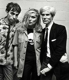 Chris Stein, Debbie Harry and Andy Warhol.