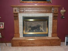 Oak mantle and hearth