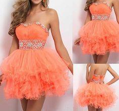 Short Homecoming Dress,Orange Prom Dresses,Cute Homecoming Dress,Tulle Homecoming Dress,Short Prom Dress