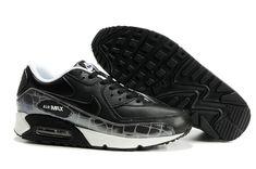 302519 901 Nike Air Max 90 Leather Reflective Crocodile Black Black White AMFM0661