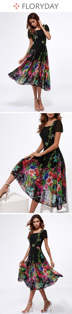 Floral Short Sleeve Midi A-line Dress floral dress short sleeve midi dress A Affordable Dresses, Trendy Dresses, Women's Fashion Dresses, Short Dresses, Summer Dresses, Boho Outfits, Pretty Outfits, Beautiful Outfits, Cute Outfits