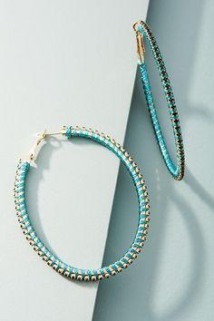 Slide View: 1: Crystalline Hoop Earrings