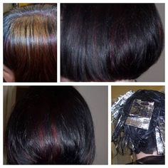 I had to bleach sections so the red would show through the black hair.