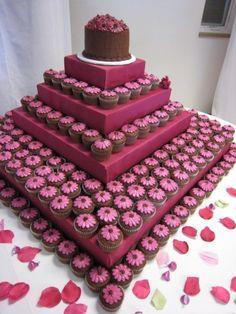 Cupcakes de Chocolate con cubierta ganache y motivo en pastillaje gerbera fucsia