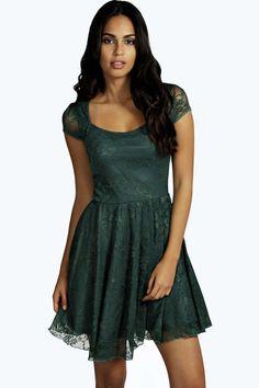 c1acb1176f9f0f Cap Sleeve Lace Skater Dress