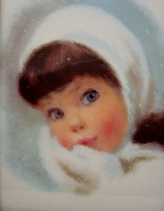 Vintage Blue Eyed Winter Girl wall hanging by SusieSoHoCollection, $12.00
