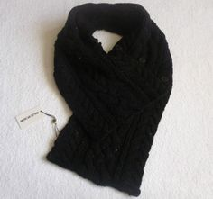 French Designer Lambswool Chunky Knitted Scarf Button SNOOD NECK WARMER Unisex