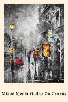 City Print Cityscape Wall Art Rain Giclee On by AfremovArtStudio
