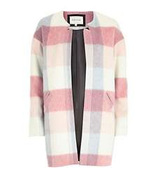 Pink brushed check coat £80.00