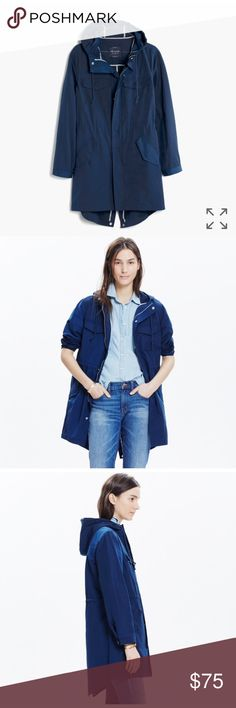 Madewell jacket PRODUCT DETAILS An any-weather anorak (see: handy hood) with a boldly contrasting striped interior and plenty of pockets to hold all of your essentials (especially awesome on those strictly-keys-and-wallet days).    True to size. Cotton/poly. Machine wash. Import. Madewell Jackets & Coats
