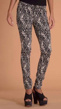 Plein Sud Jeanius Black and white animal print skinny trousers.