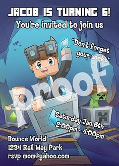 Printable.. Dan TDM The Diamond Minecart Birthday Invitation. Kids love watching Dan TDM his videos entertain with tips and ideas about minecraft. Size 5 inches