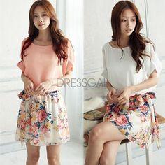 Women's Charming Summer Crewneck Short Sleeve Chiffon Floral Dress