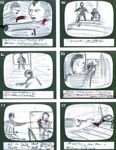 Martin Scorsese's storyboards for the climactic scene in his classic 1976 film Taxi Driver