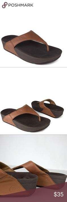 0a496cb04 Fitflop Sandals Lulu Brown Leather Thong Wedge Fitflop Sandals Lulu Brown  Leather Thong Wedge Flop Flop