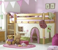 Cabin bed [or loft bed] for girls, they are great space savers and a lot of fun for kids.