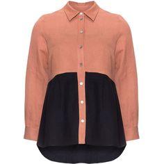 Isolde Roth Orange / Dark-Blue Plus Size Tonal long sleeve blouse (€83) ❤ liked on Polyvore featuring tops, blouses, orange, plus size, button blouse, black button blouse, women plus size tops, womens plus tops and plus size black blouse