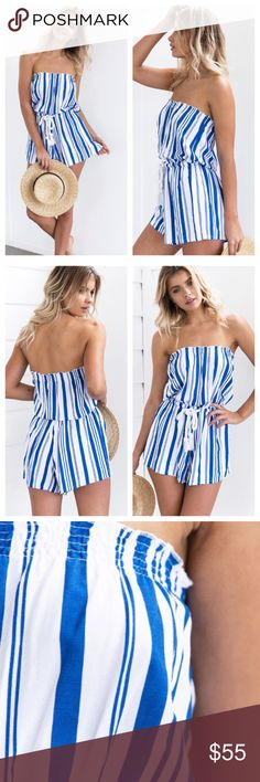 """Striped Romper Playsuit Blue and white stripe strapless romper playsuit from high quality Australian store """"Mura Boutique"""". Very similar to Sabo Skirt. Tassel rope style waist tie, slip on easily, top is stretchy. Regular fit. Cotton/polyester material. Fits size Small but would also fit a Medium well since its stretchy Mura Boutique Dresses"""