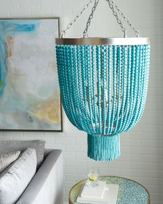 Turquoise-Bead 4-Light Chandelier